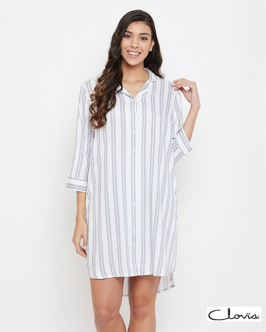 Shop Sassy Stripes Short Night Dress In White   Rayon-Front