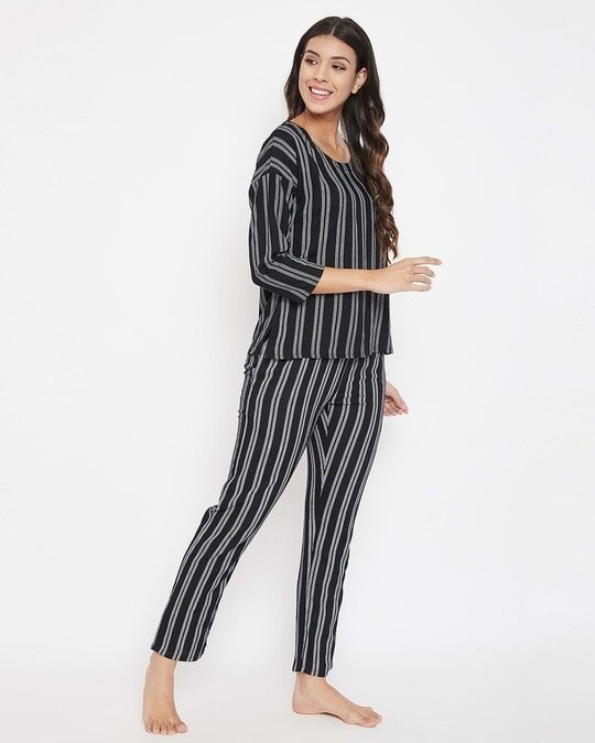 Shop Sassy Stripes Top & Pyjama In Black   Rayon-Back