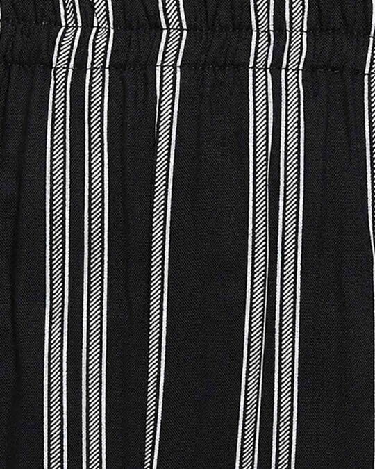Shop Sassy Stripes Top & Pyjama In Black   Rayon