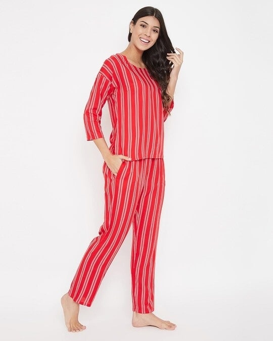 Shop Sassy Stripes Top & Pyjama Set In Red   Cotton Rich-Back