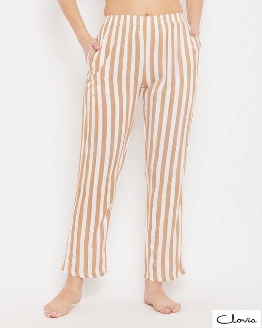 Shop Sassy Stripes Pyjama In Beige-Front