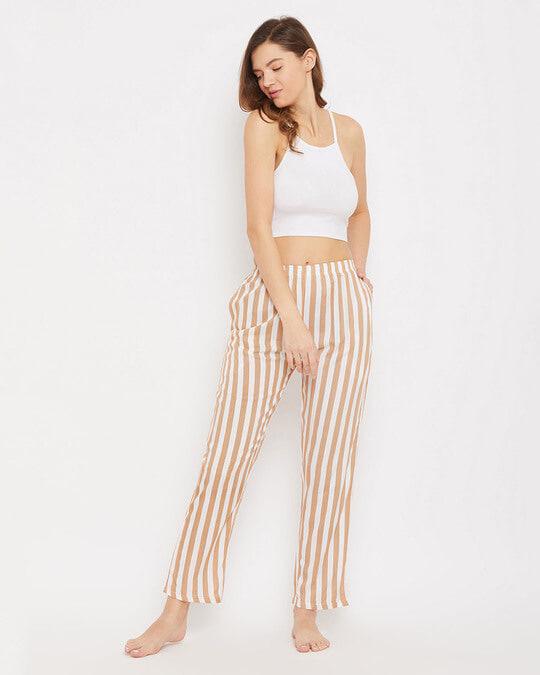 Shop Sassy Stripes Pyjama In Beige