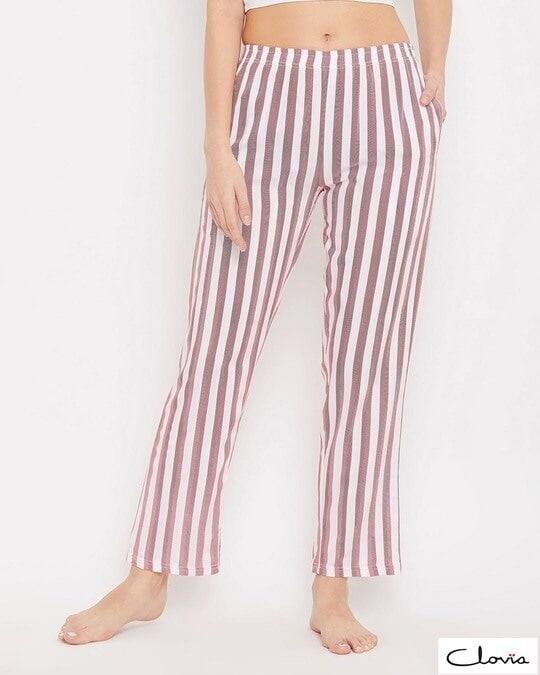 Shop Sassy Stripes Pyjama In White-Front