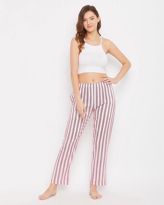 Shop Sassy Stripes Pyjama In White-Design