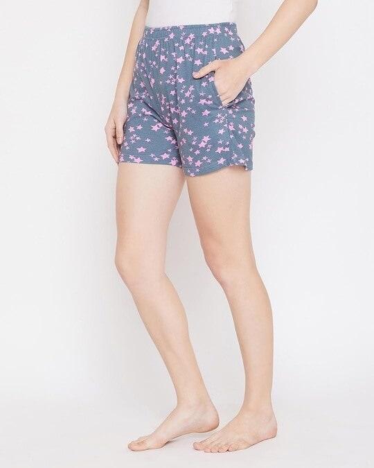 Shop Clovia Shoot The Stars Shorts in Greyish Blue- Cotton Rich-Back