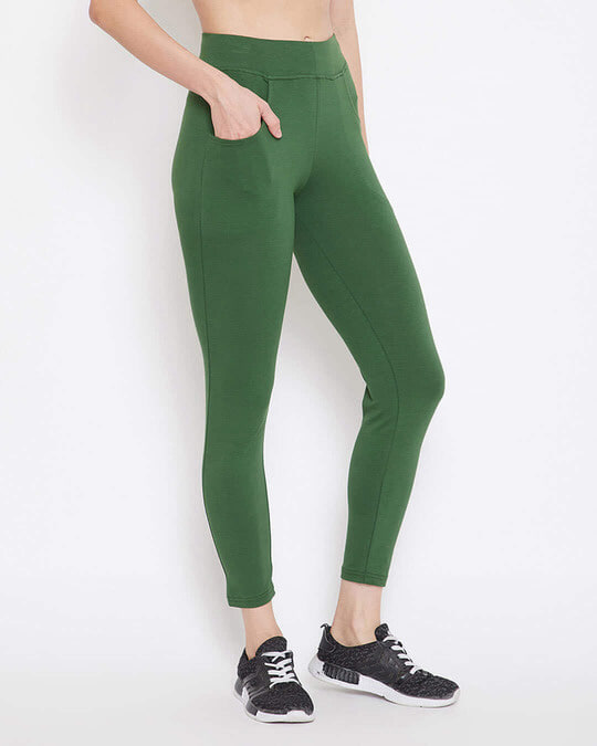 Shop Snug Fit Active Ankle Length Tights In Green   Cotton Rich-Design