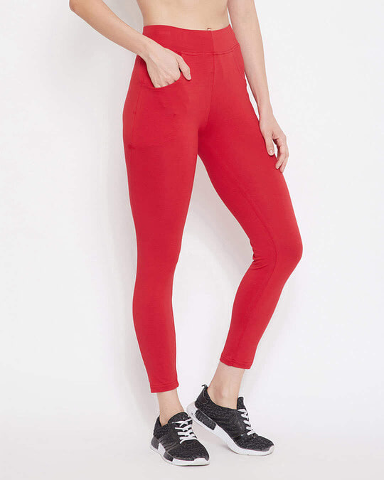 Shop Snug Fit Active Ankle Length Tights In Red   Cotton Rich-Design