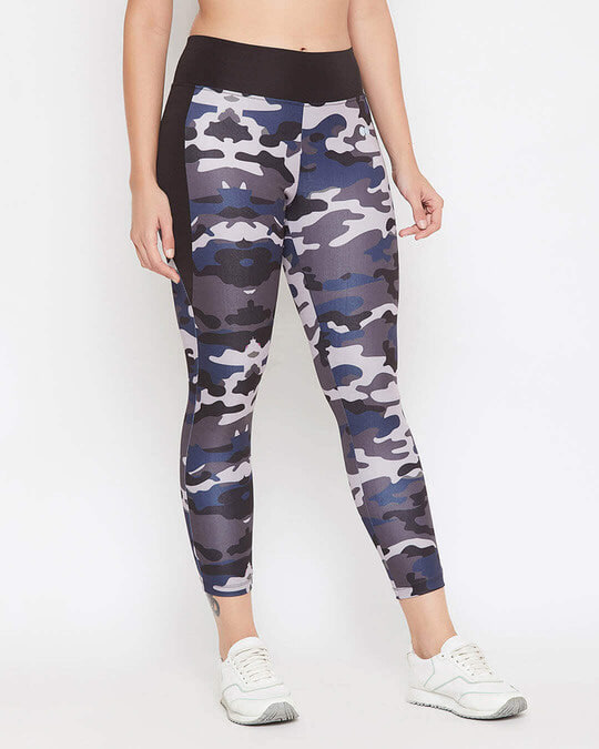 Shop Snug Fit Active Camouflage Print Ankle Length Tights In Grey-Design
