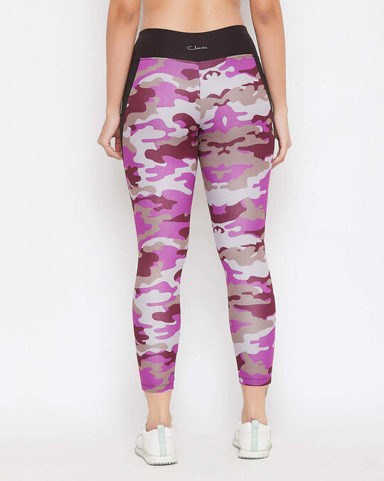 Shop Snug Fit Active Camouflage Print Ankle Length Tights In Purple-Back