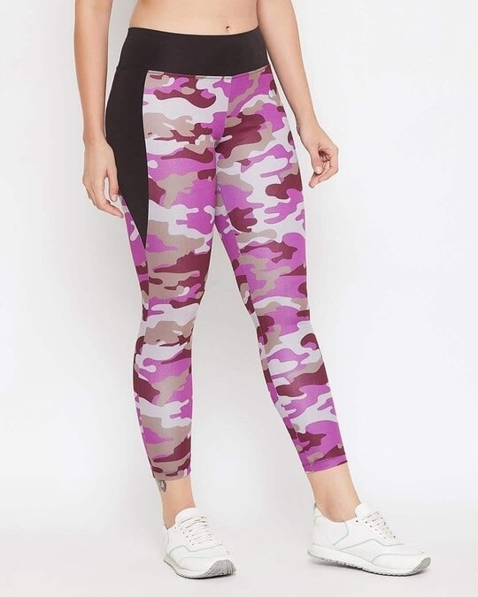 Shop Snug Fit Active Camouflage Print Ankle Length Tights In Purple-Design