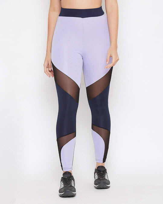 Shop Snug Fit Active Colourblock Ankle Length Tights In Lavender-Front