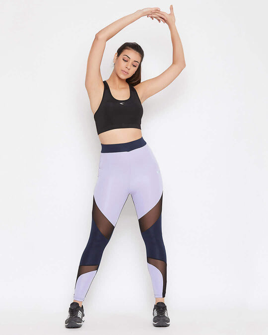 Shop Snug Fit Active Colourblock Ankle Length Tights In Lavender