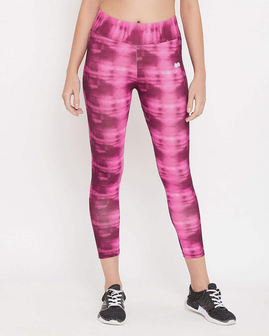 Shop Snug Fit Active High Rise Ankle Length Abstract Print Tights In Pink-Front