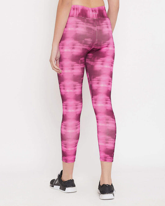 Shop Snug Fit Active High Rise Ankle Length Abstract Print Tights In Pink-Back