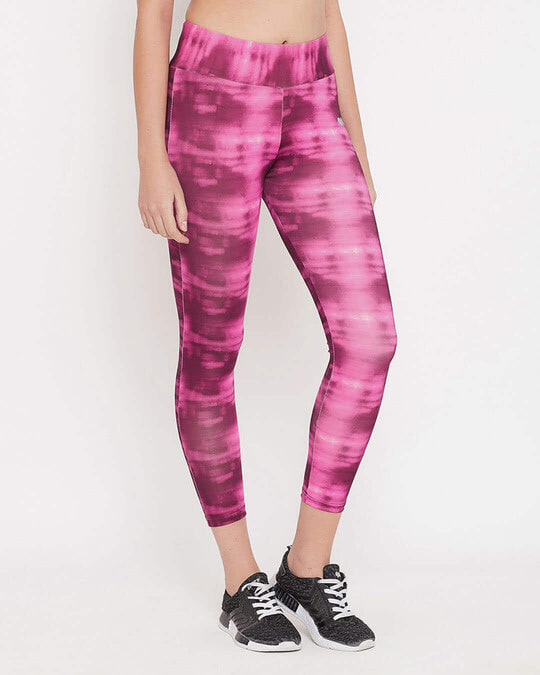 Shop Snug Fit Active High Rise Ankle Length Abstract Print Tights In Pink-Design