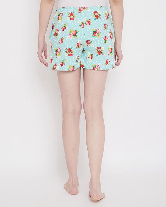 Shop Strawberry Print Boxer Shorts In Aqua Green-Back