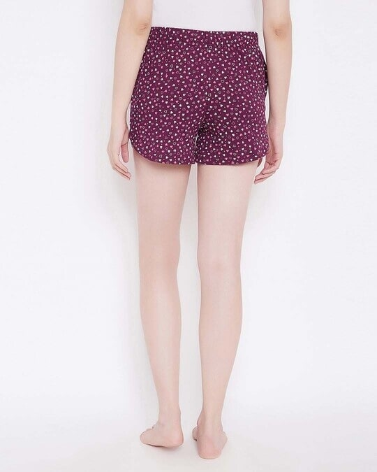 Shop Sweet Heart Shorts In Wine Colour  Cotton Rich-Full