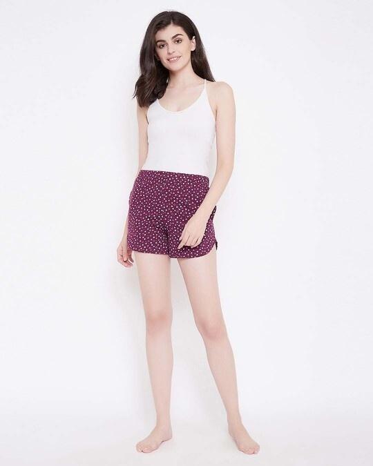 Shop Sweet Heart Shorts In Wine Colour  Cotton Rich