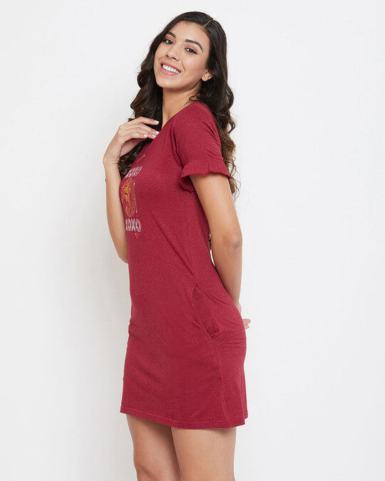 Shop Text & Heart Print Short Night Dress In Maroon   Cotton Rich-Back