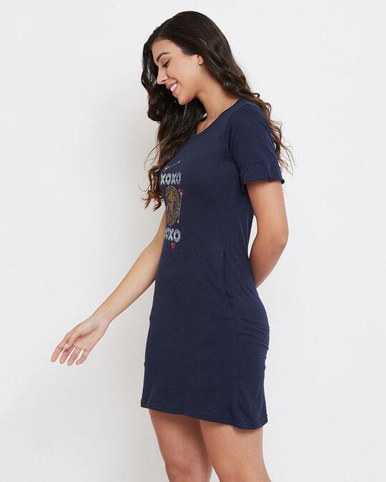 Shop Text & Heart Print Short Night Dress In Navy   Cotton Rich-Back