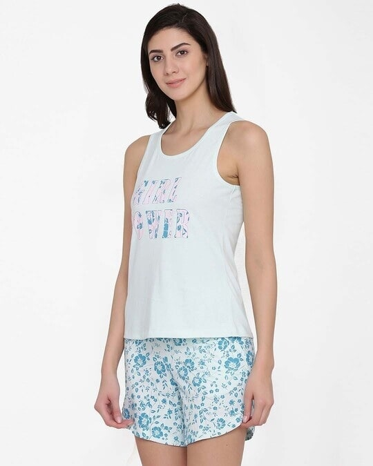 Shop Text Print Top & Floral Print Shorts Set In Light Blue  100% Cotton-Back