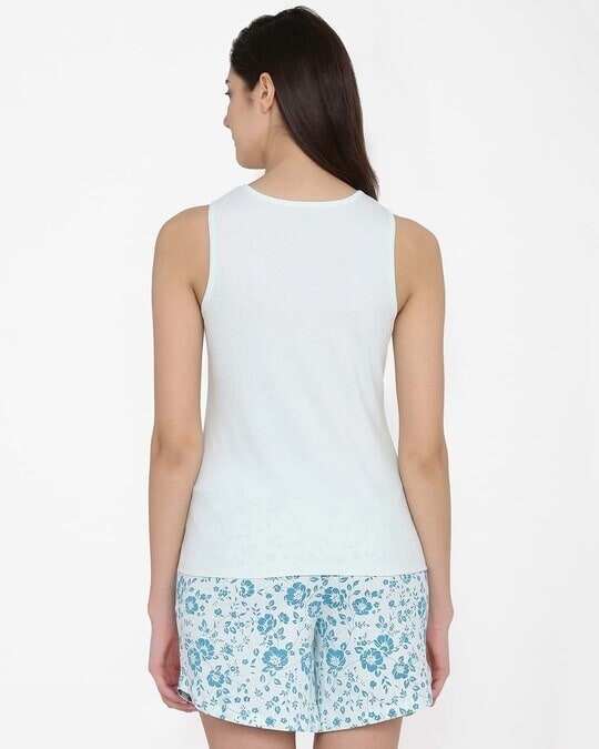 Shop Text Print Top & Floral Print Shorts Set In Light Blue  100% Cotton-Design