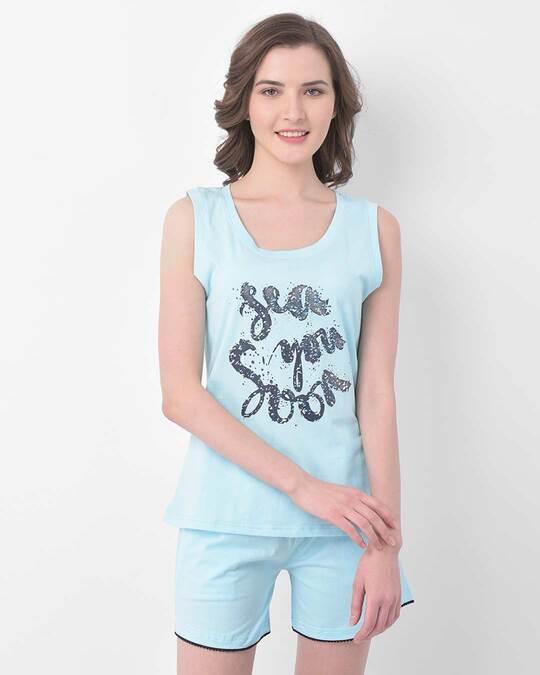 Shop Text Print Top & Shorts Set In Sky Blue  100% Cotton-Front