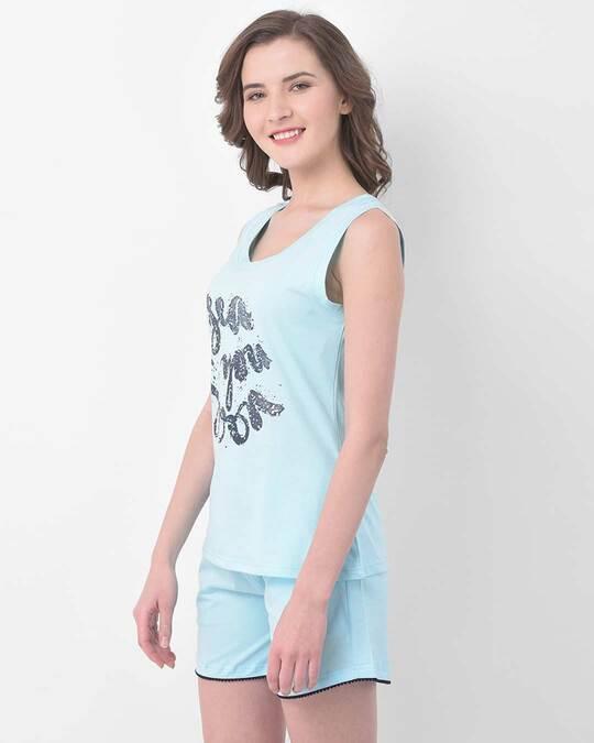 Shop Text Print Top & Shorts Set In Sky Blue  100% Cotton-Back