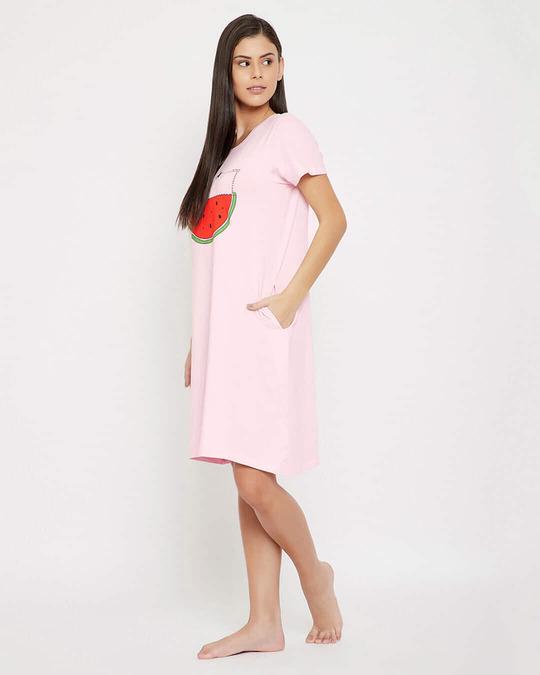 Shop Watermelon Print Short Night Dress In Baby Pink   100% Cotton-Back