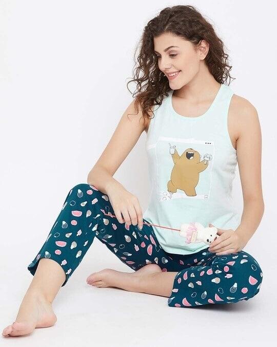 Shop We Bare Bears Top & Pyjama In Blue  100% Cotton-Full
