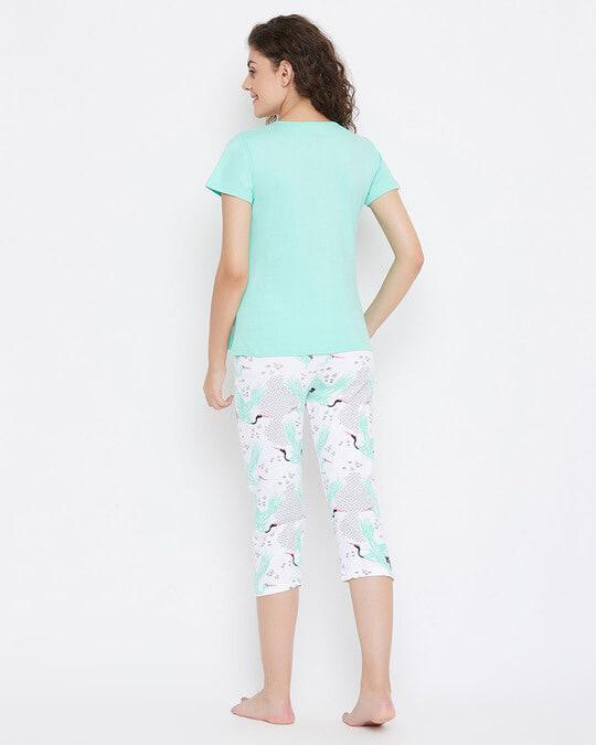 Shop Wild At Heart Top & Capri Set In Green  100% Cotton-Full