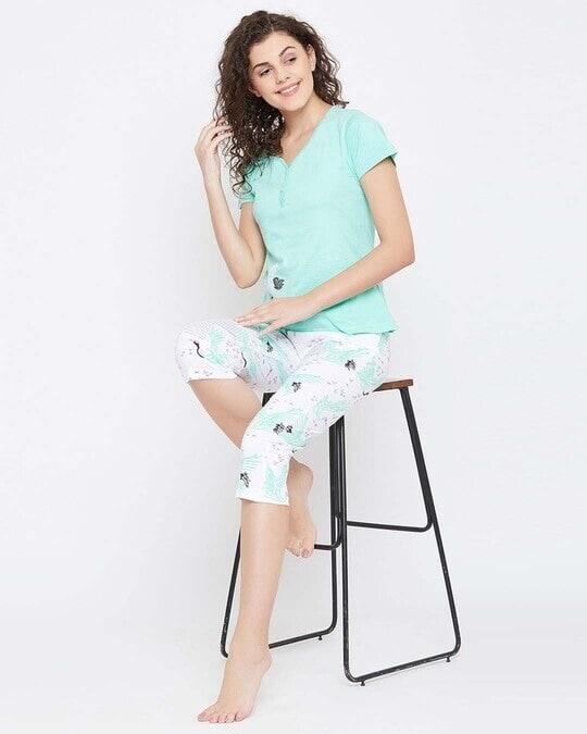 Shop Wild At Heart Top & Capri Set In Green  100% Cotton