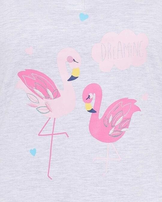 Shop Wild At Heart Top & Capri Set In Grey & Pink  Cotton Rich
