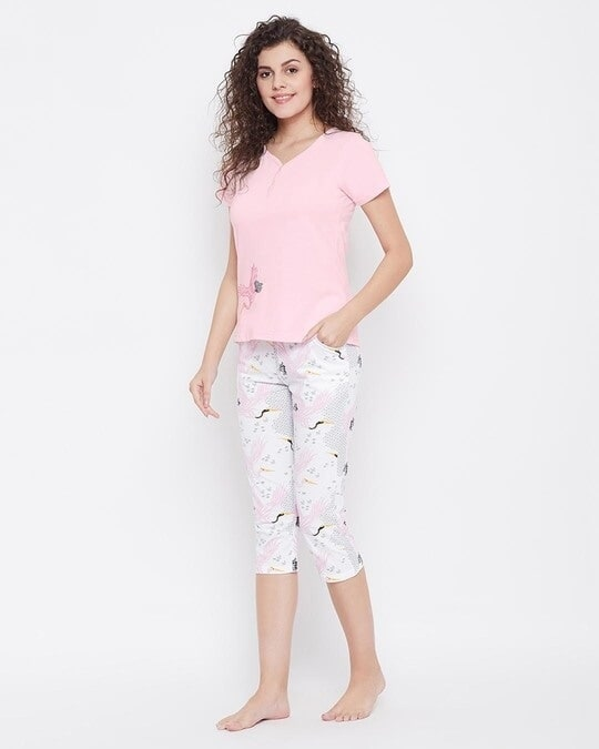 Shop Wild At Heart Top & Capri Set In Pink & White  100% Cotton-Back