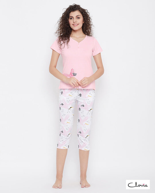 Shop Wild At Heart Top & Capri Set In Pink & White  100% Cotton-Front