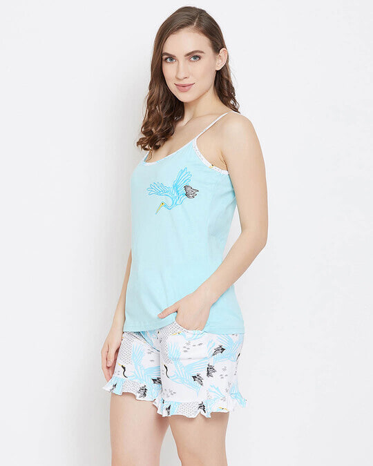 Shop Wild At Heart Top & Short Set In Light Blue   100% Cotton-Back