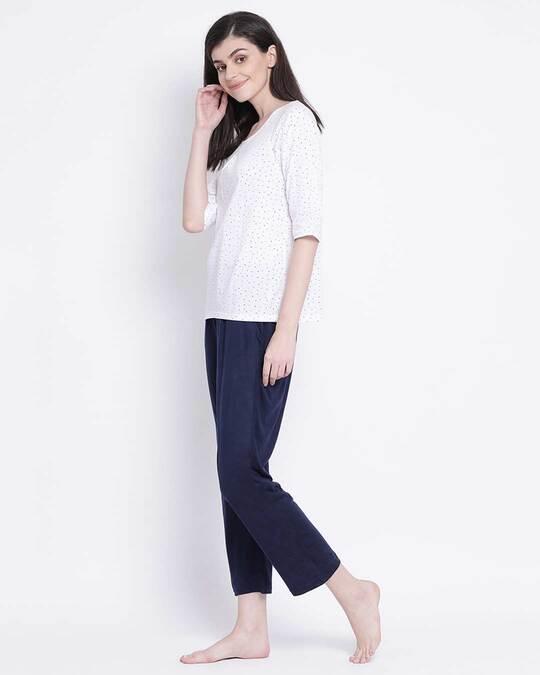 Shop Clovia women Cotton regular Printed Top & Basic Pyjama Set-Back