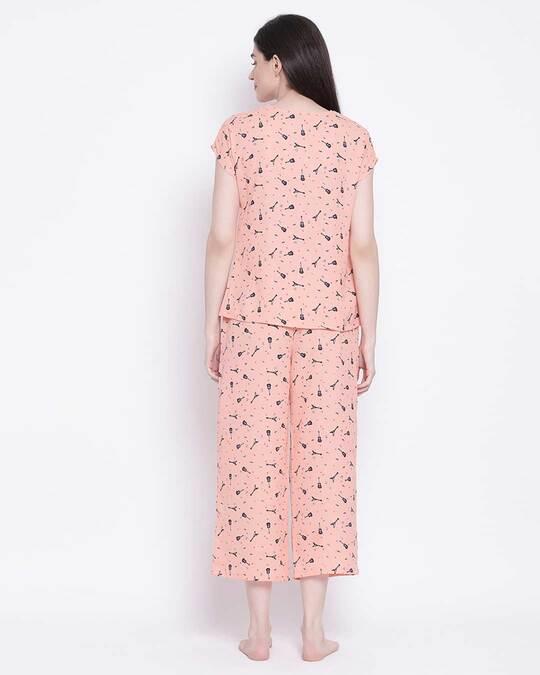 Shop Clovia women Orange Crepe Printed Top & Pyjama Set-Design