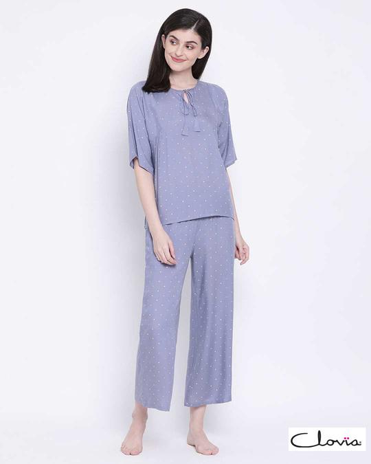 Shop Clovia women Polka Print Top & Pyjama set -Front
