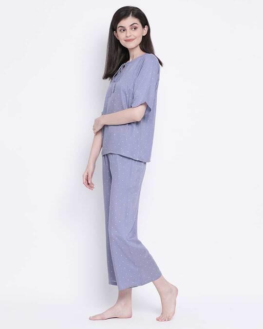 Shop Women Polka Print Top & Pyjama Set-Back