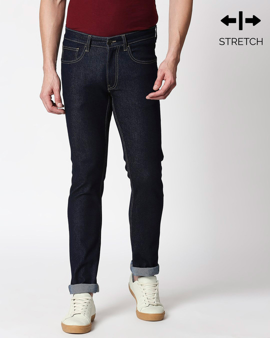 Shop Cobalt Blue Denim Pants Mid Rise Stretchable Men's Jeans-Front