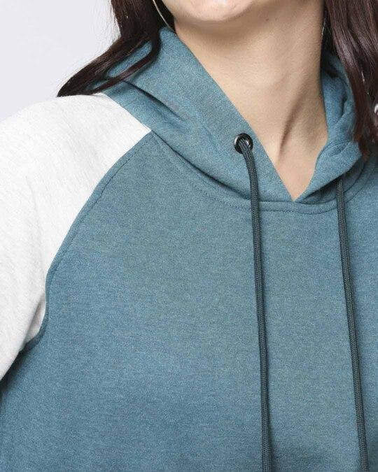 Shop Green Melange Contrast Sleeve Hoodie Sweatshirt-Full