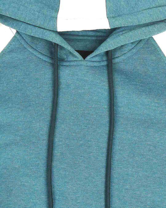 Shop Green Melange Contrast Sleeve Hoodie Sweatshirt