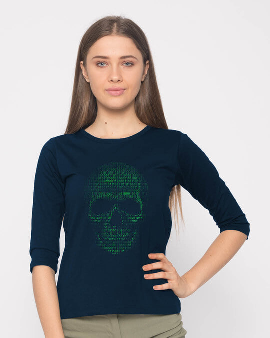 Shop Code Till You Die Round Neck 3/4th Sleeve T-Shirt-Back