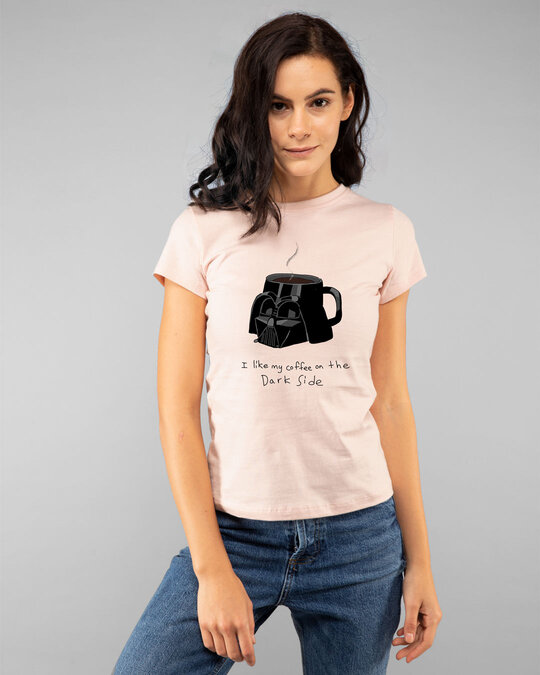 Shop Coffee On The Dark Side Half Sleeve T-Shirt (SWL) Seashell Pink-Front