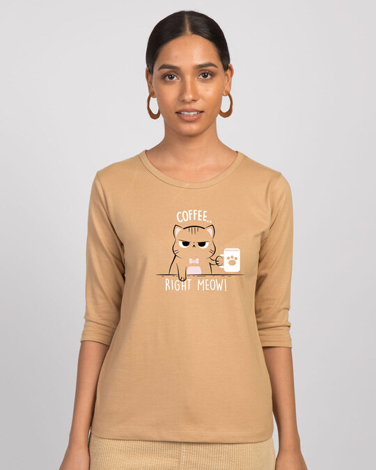 Shop Coffee Right Meow 3/4th Sleeve T-Shirt-Front