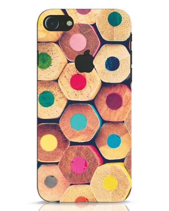 Shop Color Pencil iPhone 7 Logo Cut Mobile Cover-Front