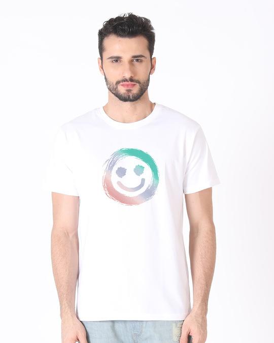 Shop Color Smiley Half Sleeve T-Shirt-Back