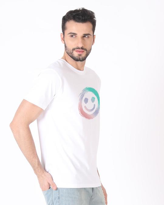 Shop Color Smiley Half Sleeve T-Shirt-Full