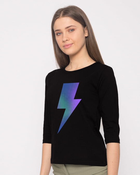 Shop Colorful Bolt Round Neck 3/4th Sleeve T-Shirt-Back